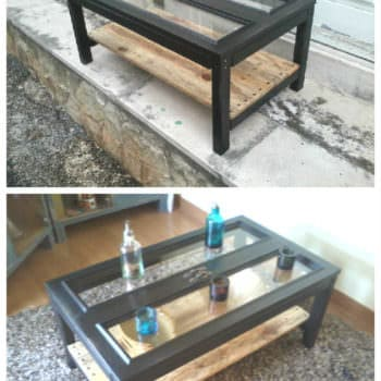 Cabinet Doors & Pallets Repurposed Into A Coffee Table