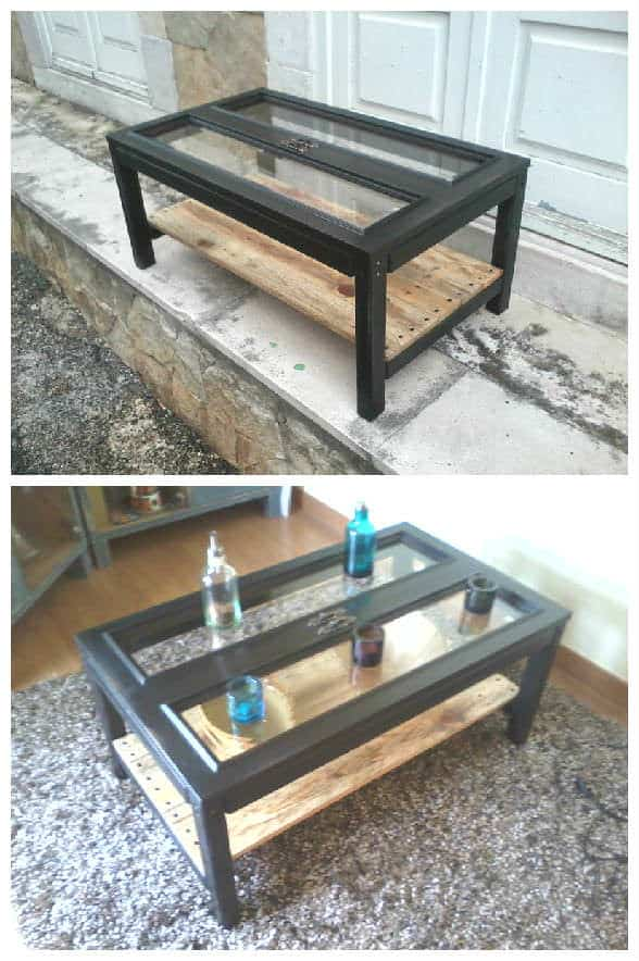 Cabinet Doors Amp Pallets Repurposed Into A Coffee Table