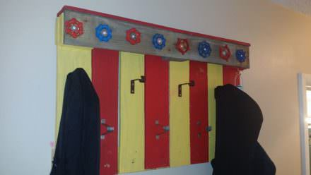 Coat Rack Made From Recycled Pallet & Plumbing