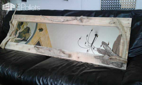 Miroirs En Palettes Recyclées / Pallet And Driftwood Mirrors Pallet Home Décor Ideas Pallet Wall Decor & Pallet Painting