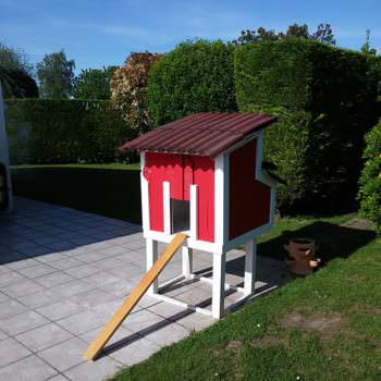 Red Pallet Chicken Coop