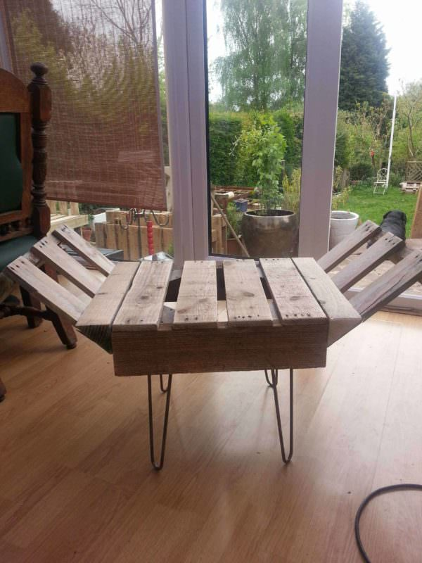 Retro Style Indoor Bench From Upcycled Pallet Steel Pallets