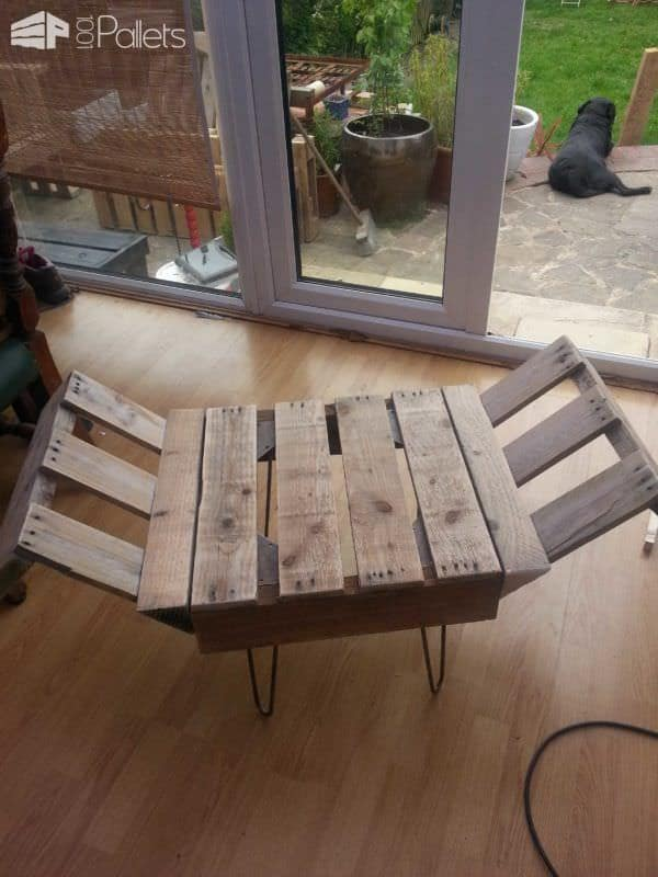 retro style indoor bench from upcycled pallet & steel • pallet