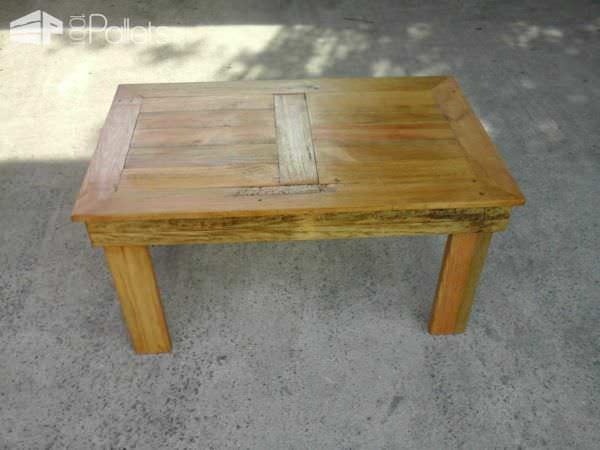 Table basse en bois de palette pallet coffee table for Table en palette de bois