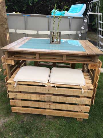 table et bancs de jardin en palettes pallet garden table and bench pallets in the - Table De Jardin Palette