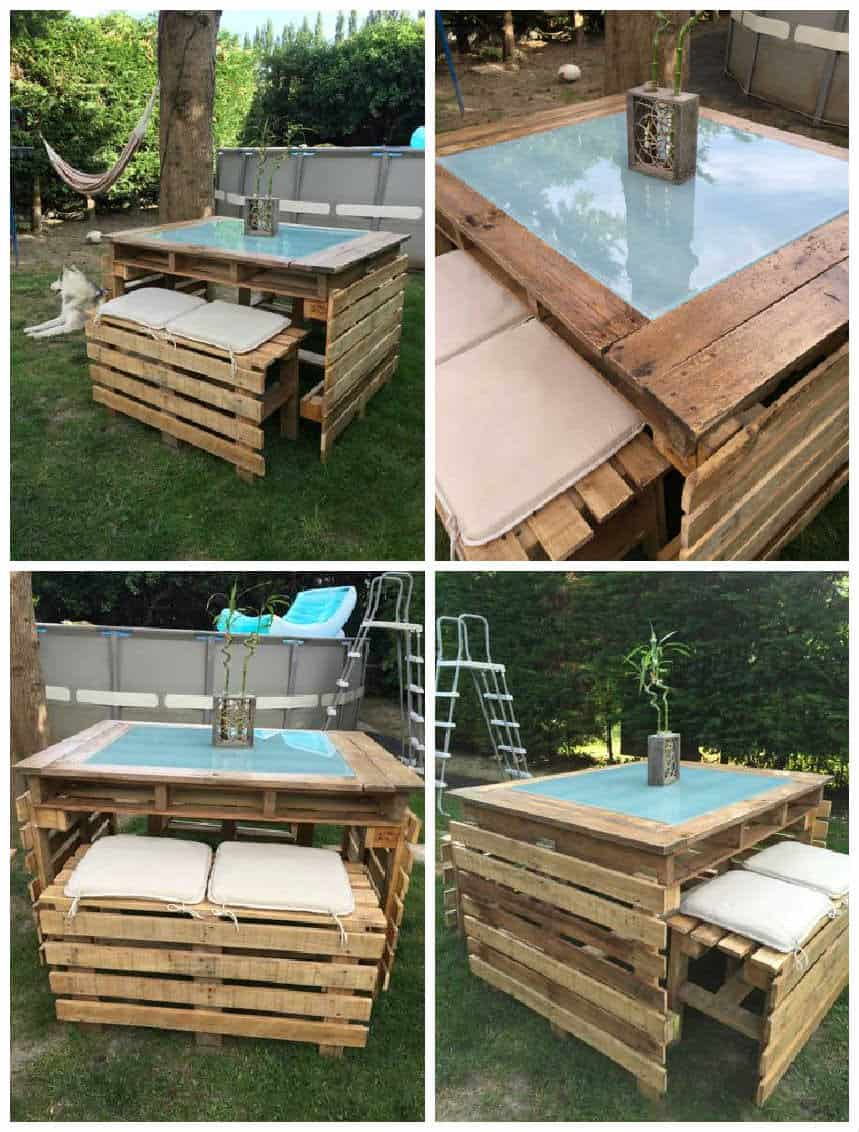 Table et bancs de jardin en palettes pallet garden table and bench pallet ideas 1001 pallets for Idee table de jardin en palette