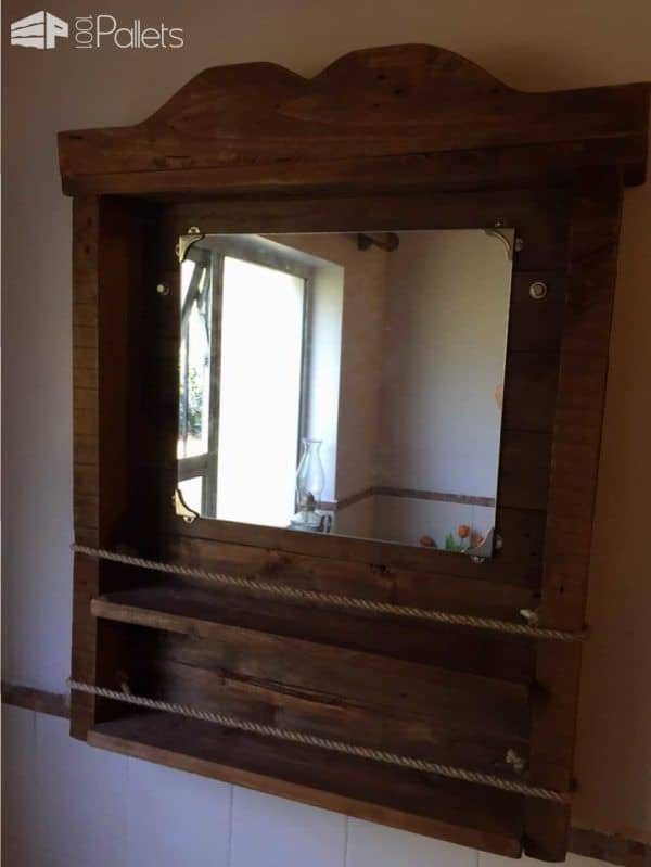 Bathroom Mirror Shelf Pallet Shelves Coat Hangers