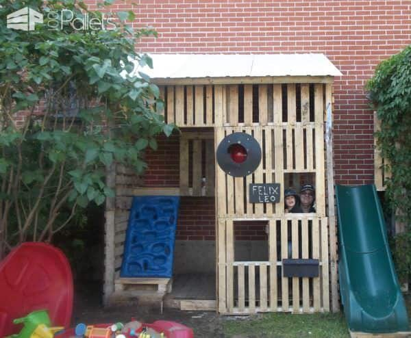 Kids Pallet Playhouse With Climbing Wall Fun Pallet Crafts for Kids Pallet Sheds, Cabins, Huts & Playhouses