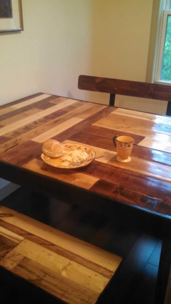 Kitchen Table Amp Benches From Repurposed Pallets 1001 Pallets