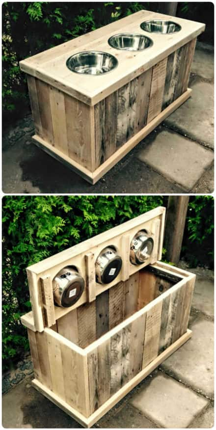 Pallet Dog Feeder & Storage at the Same Time