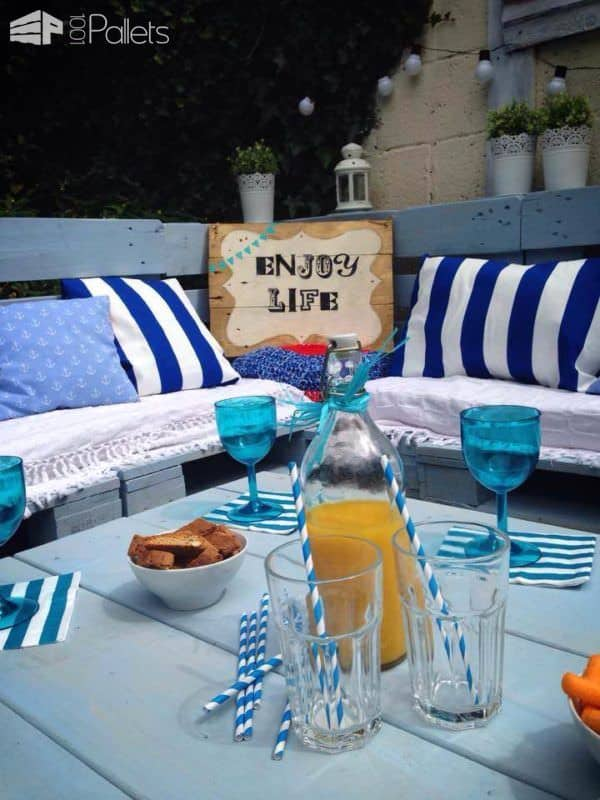 Pallet Garden Nautical Furniture Set And Sign Lounges & Garden Sets