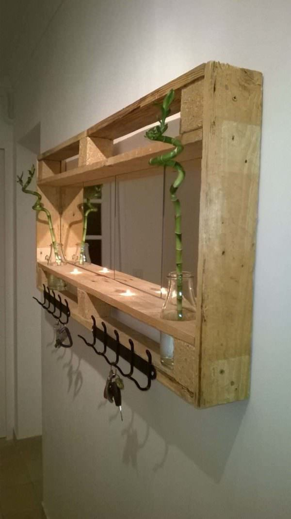 Pallet Mirror For My Entrance Pallet Candle Holders Pallet Shelves & Pallet Coat Hangers