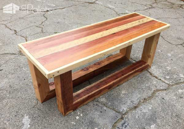 Pallet Table/Entry-way Bench: Rugged Style Sled Legs Pallet Benches, Pallet Chairs & Stools Pallet Coffee Tables