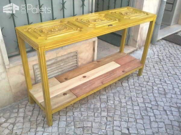 Room Sideboard Made with a Closet Door Pallet Desks & Pallet Tables