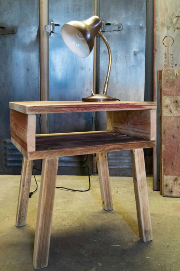 Scandinavian Bedside Table Pallet Desks & Pallet Tables