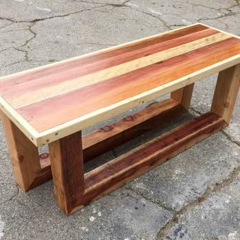 Pallet Table/Entry-way Bench: Rugged Style Sled Legs