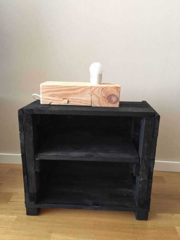 Bedside Cabinet Full Equiped With a Wood Block Lamp Pallet Cabinets & Pallet Wardrobes
