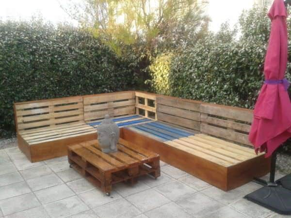 Complete Pallet Garden Lounge With Table & Planters Lounges & Garden Sets Pallet Desks & Pallet Tables Pallet Sofas & Couches