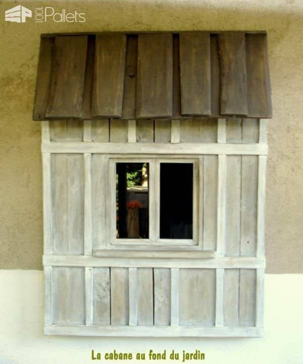 Decorative Window Made Out Of Pallet Wood Pallet Wall Decor & Pallet Painting