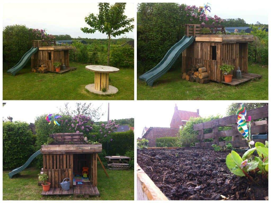 Kids Playhouse With Green Roof Made Out Of 20 Recycled