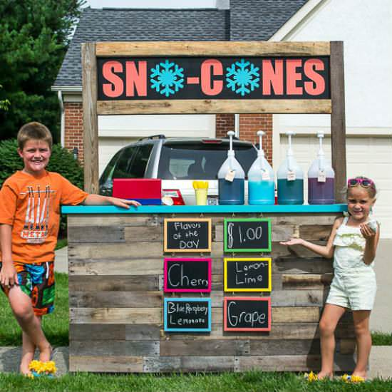 Kids Sno-cones Pallet Stand Fun Pallet Crafts for Kids