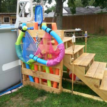Pallet Pool Steps with Noodle Storage