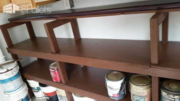 Shelving From Pallets & Other Recycled Materials – All Free! Pallet Shelves & Pallet Coat Hangers