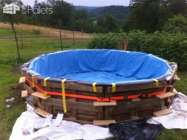 Swimming Pool Made Out of Wooden Pallets for Under  Pallets in the Garden