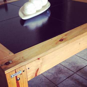 Pallet Table With Black Tile