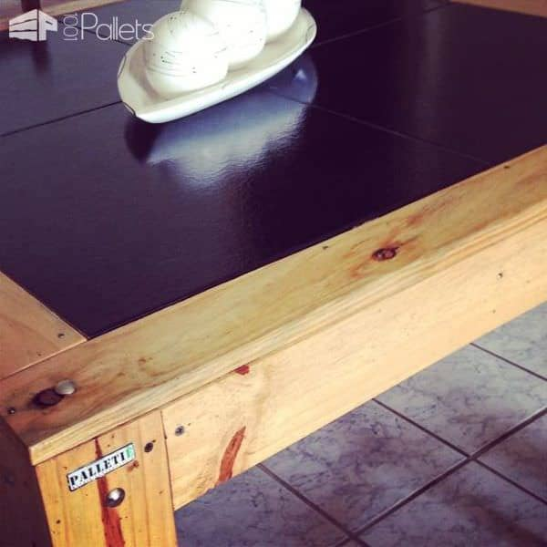 Pallet Table With Black Tile Pallet Desks & Pallet Tables