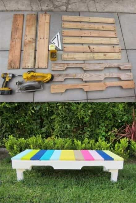 Diy: Colored Bench From Recycled Pallets