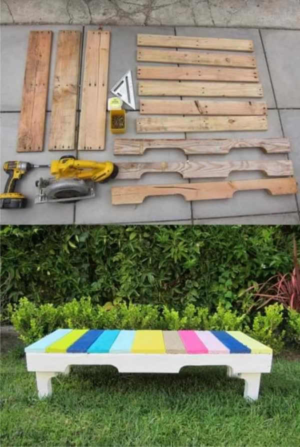 Diy: Colored Bench From Recycled Pallets Pallet Benches, Pallet Chairs & Stools