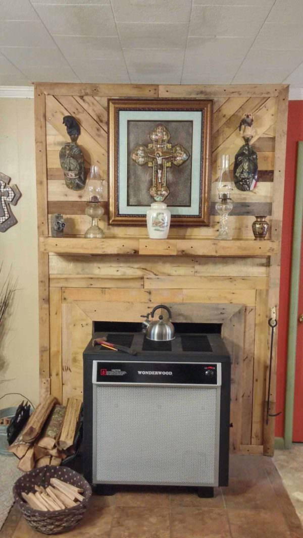 Fire Place Overlay With Reclaimed Pallets Pallet Walls & Pallet Doors
