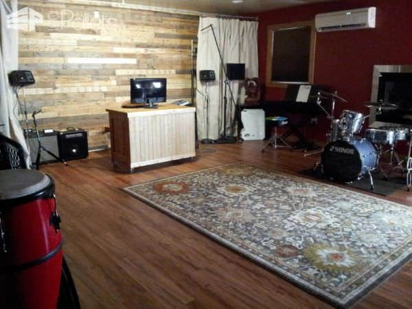 Garage Conversion to Music Space Pallet Walls & Pallet Doors