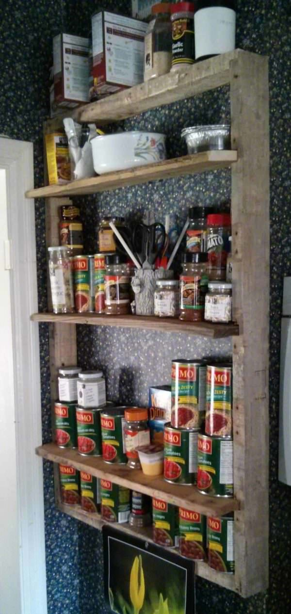 Idea For a Rustic Pallet Shelf in Your Kitchen Pallet Shelves & Pallet Coat Hangers