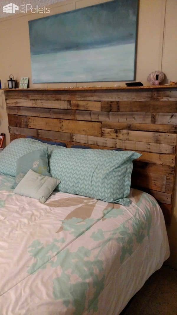 My 1st Pallet Project: Pallet Bed Headboard Made Out Of 3 Wooden Pallets DIY Pallet Beds, Pallet Bed Frames & Pallet Headboards