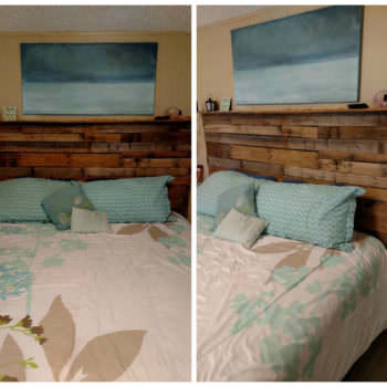 My 1st Pallet Project: Pallet Bed Headboard Made Out Of 3 Wooden Pallets