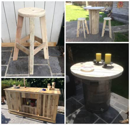 Pallet Bar, Bar Stools, Sofas & Man-table