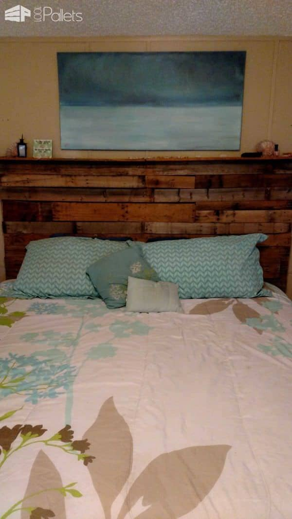 Pallet Bed Headboard Made Out Of 3 Wooden Pallets Pallet Beds, Pallet Headboards & Frames