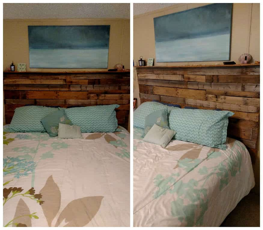 Pallet Bed Headboard Made Out Of 3 Wooden Pallets O 1001