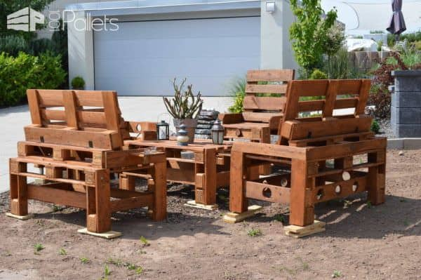 Pallet Bench & Chair Garden Set Pallet Benches, Pallet Chairs & Stools
