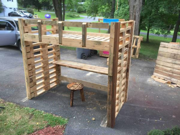 Pallet Loft Bed DIY Pallet bed headboard and frame - Pallet Bedroom