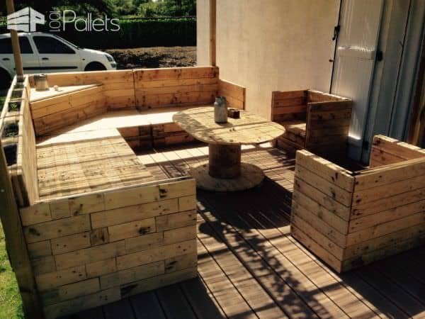 Salon De Jardin / Pallet Garden Set Lounges & Garden Sets Pallet Benches, Pallet Chairs & Stools