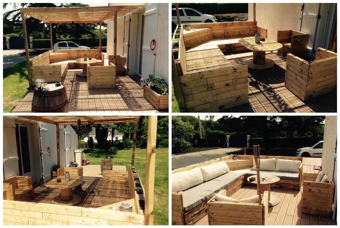 salon de jardin pallet garden set 1001 pallets. Black Bedroom Furniture Sets. Home Design Ideas