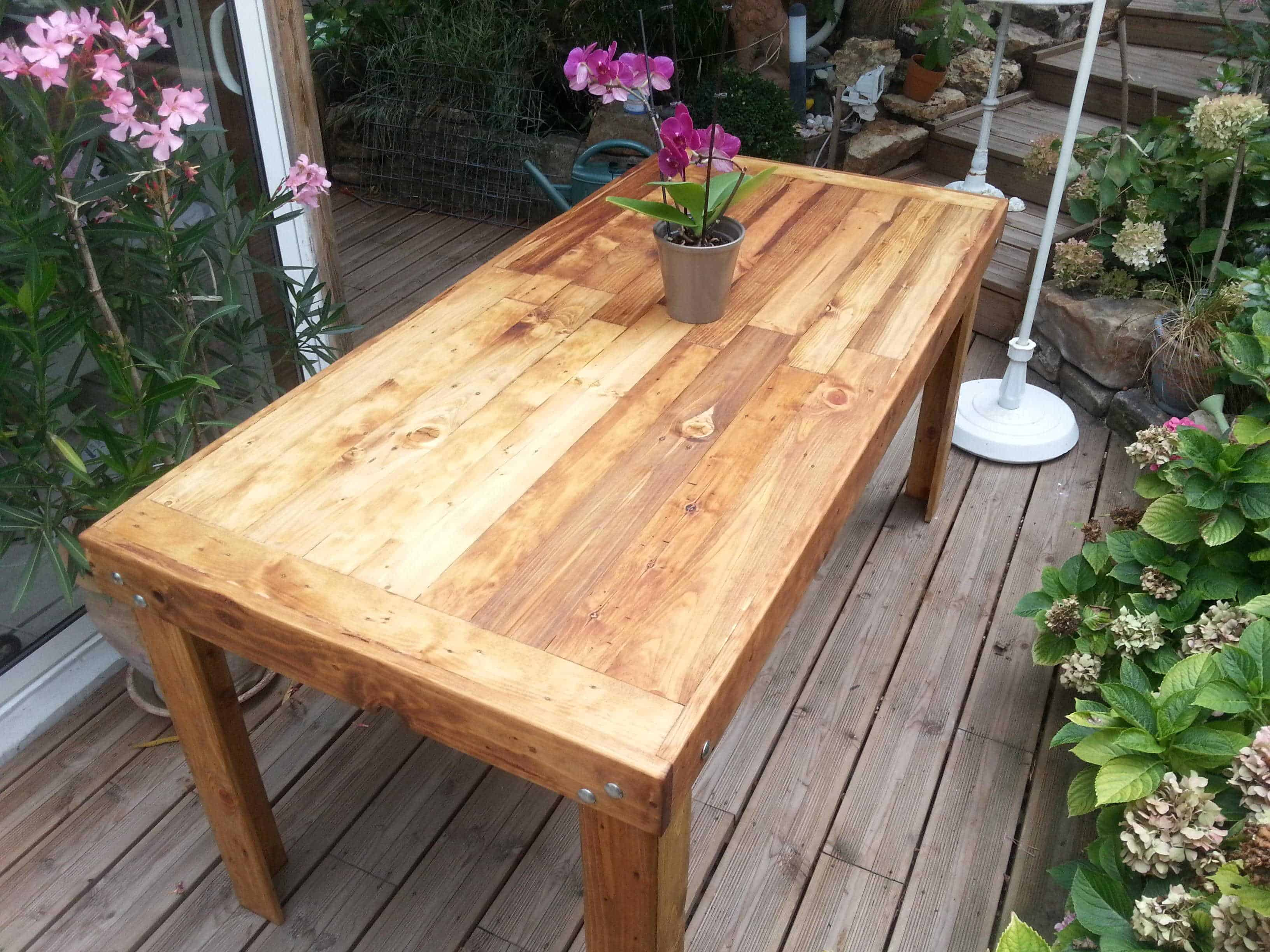 Table manger en bois de palettes reclaimed pallets wood dining table 10 - Table a manger palette ...