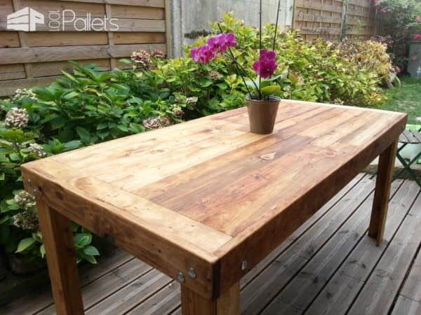 Table manger en bois de palettes reclaimed pallets wood dining table pa - Table bois de palette ...