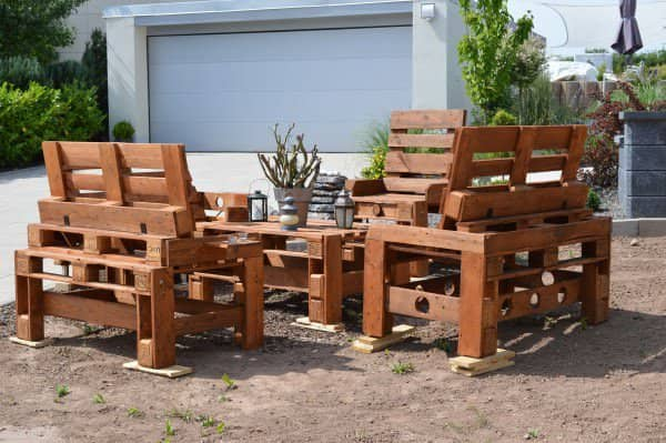 Pallet Bench & Chair Garden Set Pallet Benches, Pallet Chairs & Pallet Stools