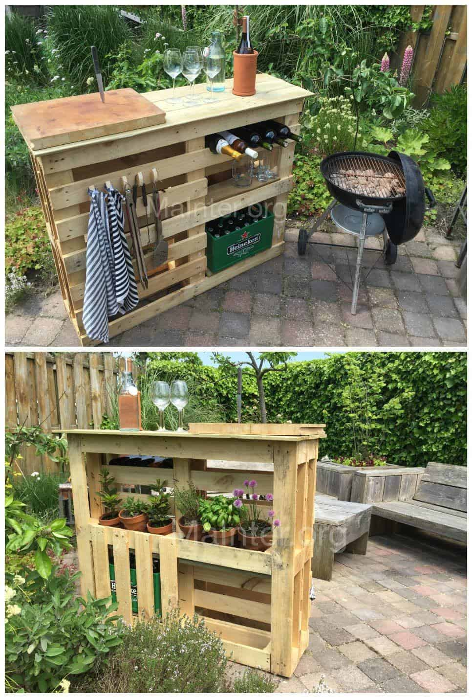 bbq side table made from 2 old pallets old boards 1001 pallets. Black Bedroom Furniture Sets. Home Design Ideas