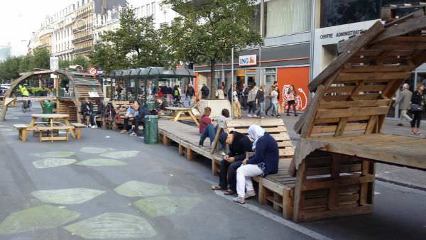 Boulevard in Brussels Reborn as a Pedestrian Zone With Ephemeral Pallet Furniture Pallet Bookcases & Pallet Bookshelves