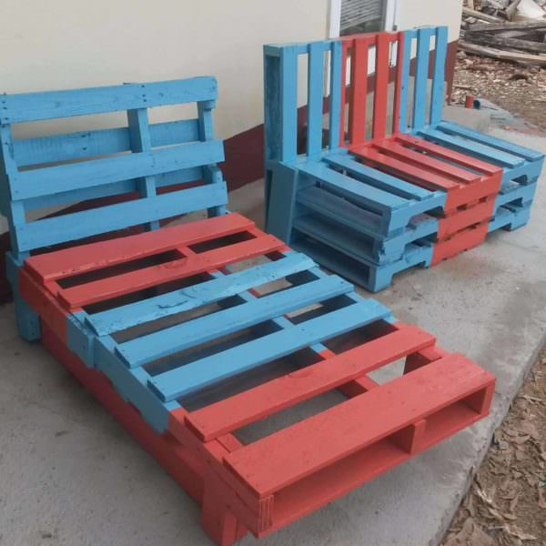 Colored Pallet Garden Chairs Pallet Benches, Pallet Chairs & Pallet Stools